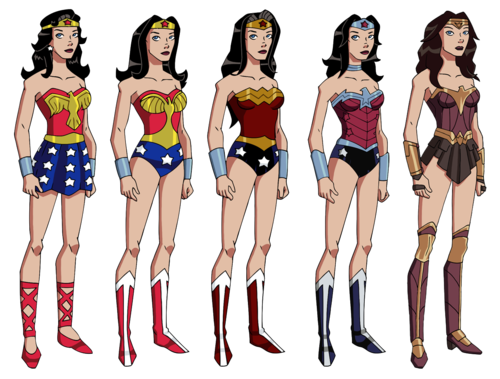 Wonder Woman karatasi la kupamba ukuta titled The Evolution of Wonder Woman