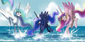 The Princesses playing in the ocean - princess-luna-of-mlp fan art