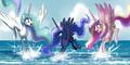 The Princesses playing in the ocean - princess-luna-of-mlp fan art