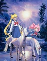 Usagi Tsukino and Chibiusa riding their Beautiful White ঘোড়া বিষয়ক