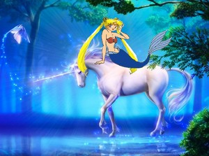 Usagi Tsukino as a Mermaid while riding her Beautiful Unicorn