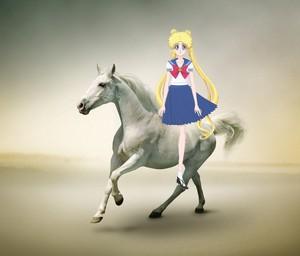 Usagi Tsukino riding on her Beautiful White Stallion
