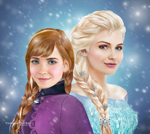 Walt disney fã Art - Princess Anna & queen Elsa