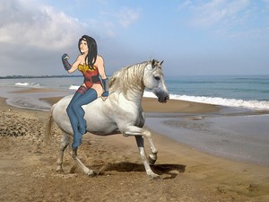Wonder Woman on her Beautiful White スティード, 馬