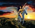 Wonder Woman rides on her Beautiful Majestic Pegasus - wonder-woman fan art