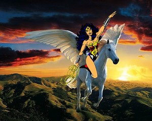 Wonder Woman rides on her Beautiful Majestic Pegasus