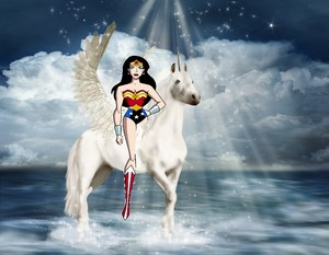 Wonder Woman riding her Beautiful Winged Unicorn kuda, steed