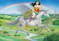 Wonder Woman riding her Beautiful Winged Unicorn