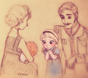 Young Elsa and Baby Anna with their Parents