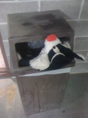 I left my vintage Sylvester cat plush in the garbage at work