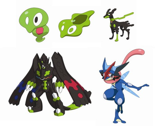 Pokémon achtergrond titled new Zygarde forms and Greninja form that takes when the bond between it and Ash is raised...
