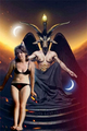 satanic woman and Baphomet - witchcraft photo