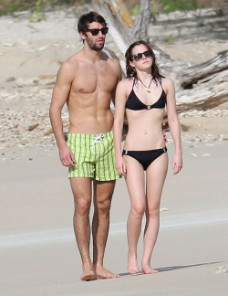 "Emma and Matt Janney on a ""sun-kissed Caribbean beach"""