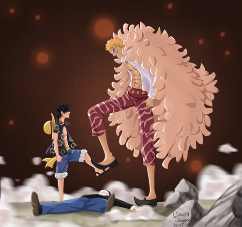 Monkey D. Luffy karatasi la kupamba ukuta titled *Luffy Save Law From Doflamingo*