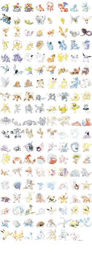 Pokémon wolpeyper called 151 Pokemon Ken Sugimori Art