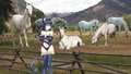 A Cute Sexy Catgirl hang out on her ranch with her Beautiful White Horses - catgirls fan art