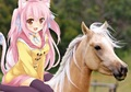 A Sweet Cute Catgirl riding on her Beautiful Palomino Horse