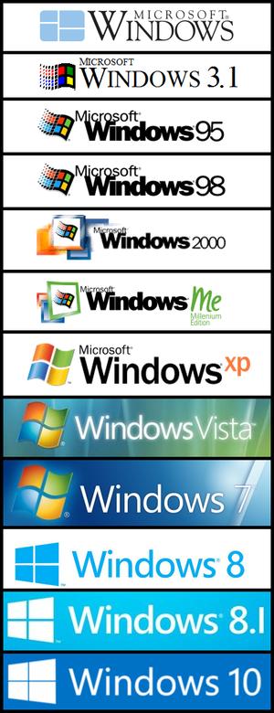 All Windows Logos with the Windows 10 logo