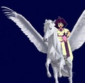 Amelia ride an Beautiful Pegasus