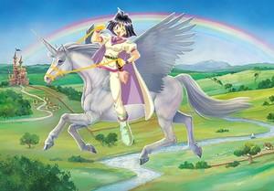 Amelia rides on her Majestic Beautiful Winged Unicorn corcel, steed