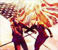 America and Britain with their flags - hetalia-couples photo