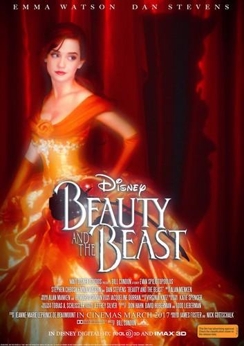 Beauty and the Beast (2017) karatasi la kupamba ukuta possibly with a chajio, chakula cha jioni dress entitled Beauty and the Beast