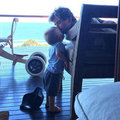Chris getting a kiss from one of his sons - chris-hemsworth photo