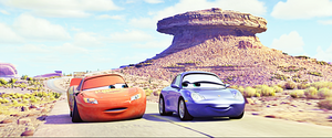 Disney•Pixar Screencaps - Lightning McQueen & Sally Carrera