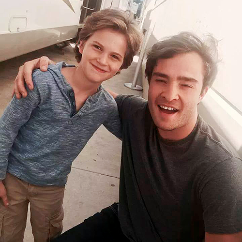 Ed Westwick and Gabriel Gateman, aka younger and older Kent on Wicked City, on set, looking adorable