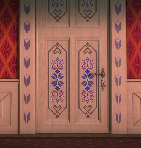 Frozen wallpaper with a wardrobe called Elsa's door