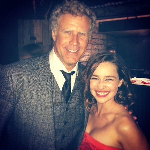 Emilia Clarke achtergrond possibly containing a business suit and a suit titled Emilia Clarke and Will Ferrell