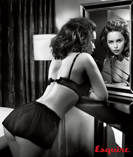 Emilia Clarke achtergrond probably containing a lingerie, a brassiere, and an underwear entitled Emilia Clarke at Esquire Photoshot