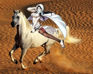 Farangis riding her Beautiful White 骏马