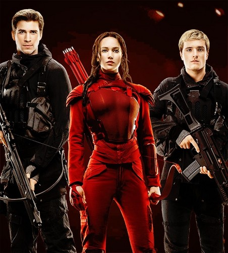The Hunger Games achtergrond probably with a jager, schutter called Gale, Katniss, and Peeta