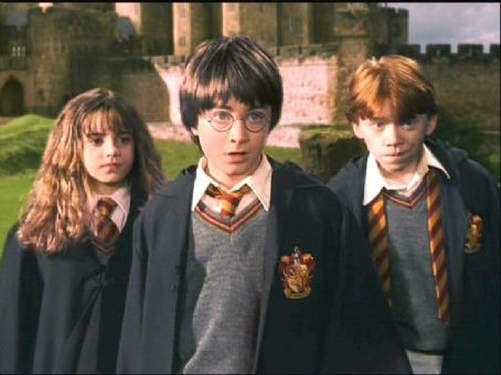 Harry, Ron and Hermione দেওয়ালপত্র possibly containing a business suit, a well dressed person, and a portrait entitled Harry Potter COS