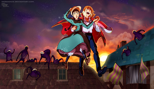 Howl and Sophie wallpaper with anime entitled Howl and Sophie