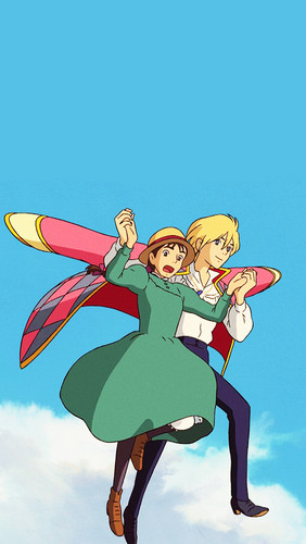 Howl and Sophie wallpaper probably containing anime entitled Howl's Moving Castle phone background