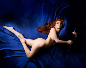 Julia Rose redhead blue sheet