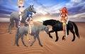 Kirche, Tiffania, and Sylphid riding their Beautiful Unicorns in the desert