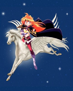 Lina Inverse rides on her Beautiful White Pegasus