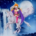 Lina Inverse riding on her Beautiful Winged Unicorn