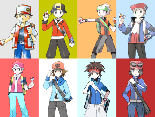 pokemon wallpaper containing anime called Male Playable Protagonists