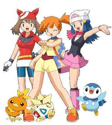 pokémon wallpaper containing animê titled Misty, May, Dawn