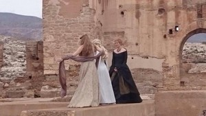Natalie Dormer, Emilia Clarke, and Lena Headey behind the scenes of Game of Thrones