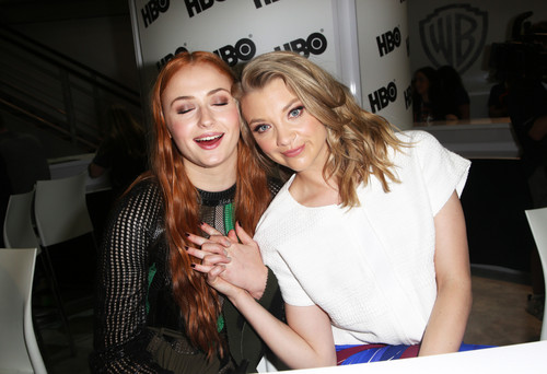 Natalie Dormer wallpaper probably with a portrait titled Natalie Dormer and Sophie Turner at 2015 San Diego Comic Con