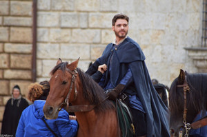 Richard Madden on set of Medici