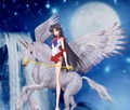 Sailor Mars riding gracefully on her Beautiful Winged Unicorn ross