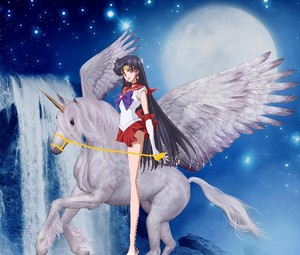 Sailor Mars riding gracefully on her Beautiful Winged Unicorn 말