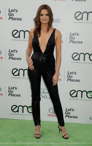 Stana Katic arrives at the EMA 2015.