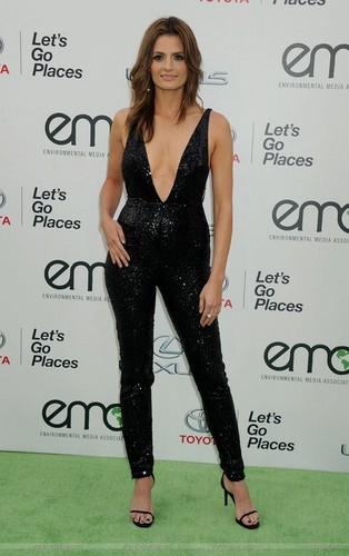 Stana Katic fond d'écran possibly with a cocktail dress and tights entitled Stana Katic arrives at the EMA 2015.